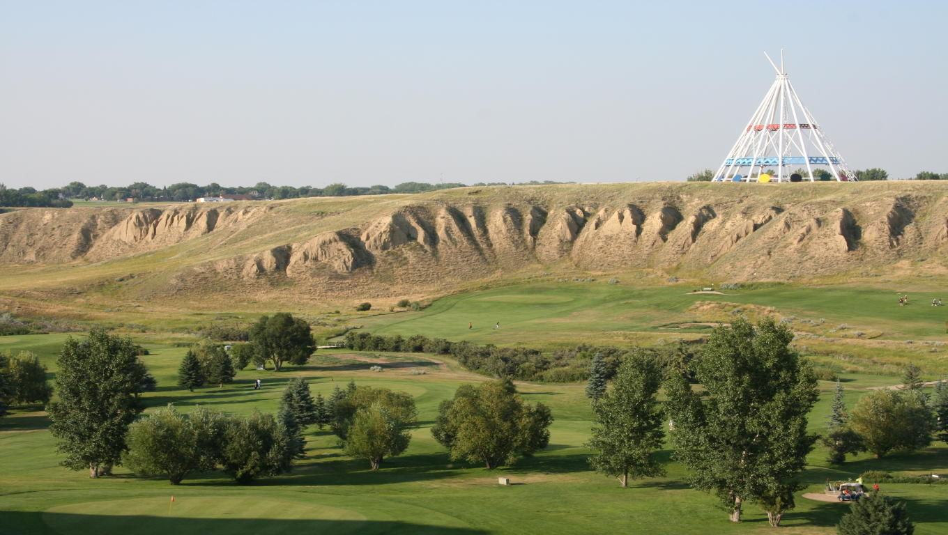 A view of the Paradise Valley Golf Course, with the Saamis Teepee as a backdrop.